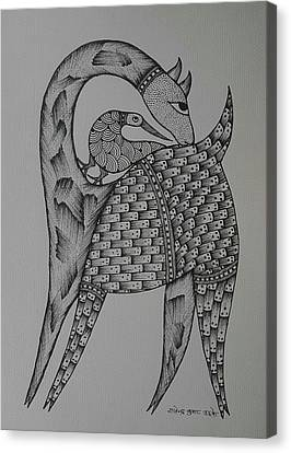 Gond Canvas Print - Symbiosis by Rajender Uike