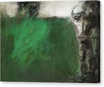 Symbol Mask Painting - 03 Canvas Print by Behzad Sohrabi