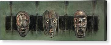 Symbol Mask Painting - 05 Canvas Print by Behzad Sohrabi