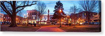 Confederate Monument Canvas Print - Symbol Of History - Bentonville Confederate Statue And Downtown Panorama by Gregory Ballos