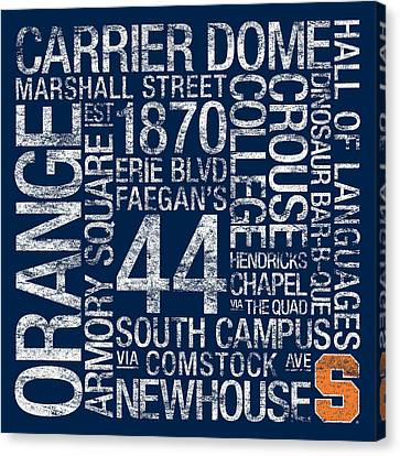 Mascots Canvas Print - Syracuse College Colors Subway Art by Replay Photos