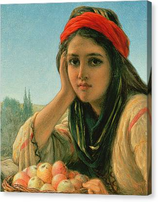Basket Head Canvas Print - Syrian Fruit Seller by William Gale