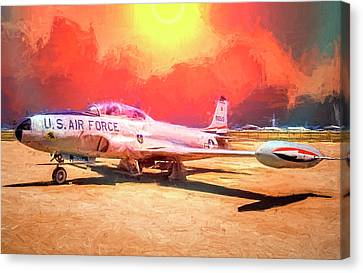 Canvas Print featuring the photograph T-33 In The Desert by Steve Benefiel