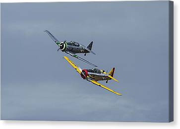 Canvas Print featuring the photograph T-6 Trainers by Elvira Butler