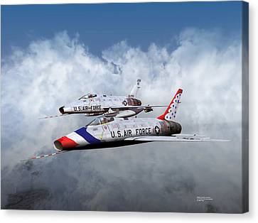 Canvas Print featuring the digital art T Bird Two And A Regular Hun by Mike Ray