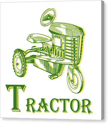 T Is For Tractor Canvas Print by Edward Fielding