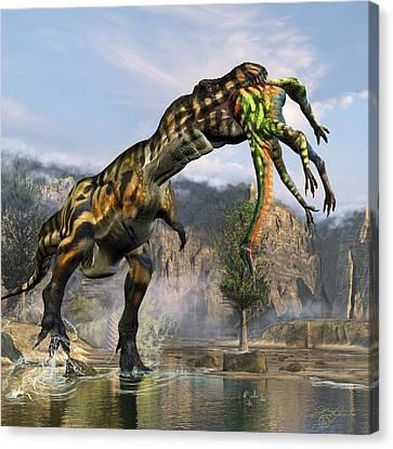T-rex Appetizer Canvas Print by Kurt Miller