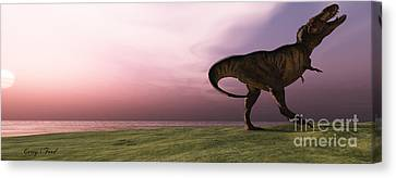 T-rex At Sunrise Canvas Print by Corey Ford