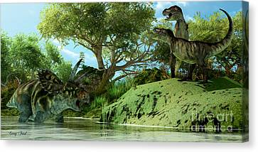 T-rex Defiance Canvas Print by Corey Ford