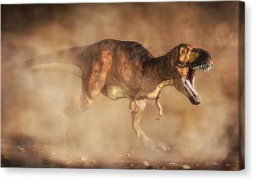 T-rex In A Dust Storm Canvas Print by Daniel Eskridge