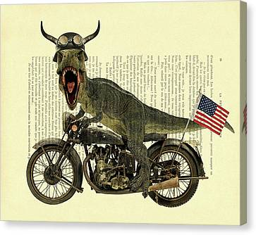 T-rex Canvas Print - T Rex Riding His Harley, Dictionary Print by Madame Memento