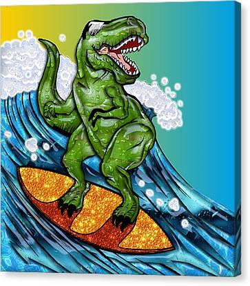 T Rex Surfing A Wave Canvas Print by Elaine Plesser