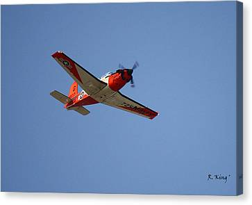 T34 Mentor Trainer Flying Canvas Print by Roena King