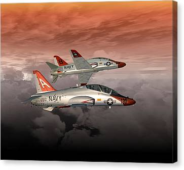 Canvas Print featuring the digital art T45 Kiss-off by Mike Ray