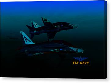 Canvas Print featuring the digital art T45 Kiss-off Wt Wings by Mike Ray