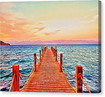 Taba Heights On The Red Sea Pier In The Evening Canvas Print by Chris Smith