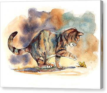 Tabby And Butterfly Canvas Print by Peggy Wilson