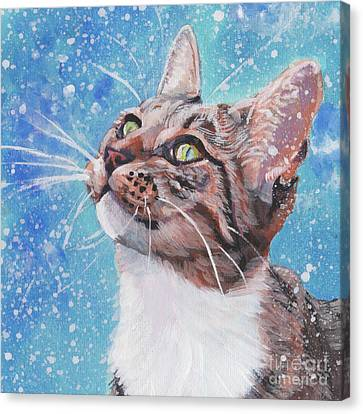 Canvas Print featuring the painting Tabby Cat In The Winter by Lee Ann Shepard