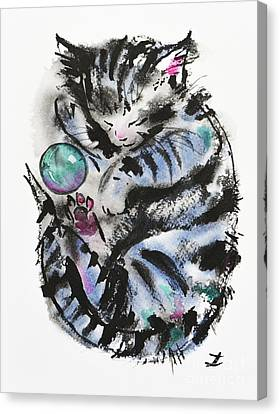 Tabby Dreams Canvas Print by Zaira Dzhaubaeva