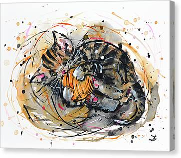 Tabby Kitten Playing With Yarn Clew  Canvas Print by Zaira Dzhaubaeva