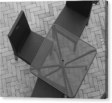 Table Chairs From Above Canvas Print by Rob Hans