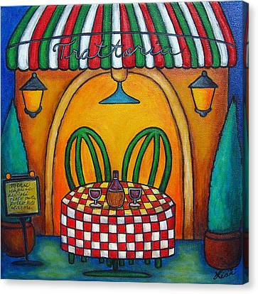 Canvas Print - Table For Two At The Trattoria by Lisa  Lorenz