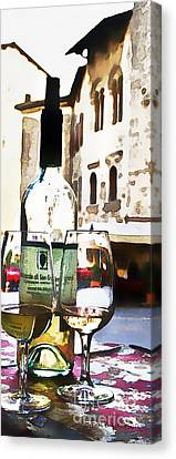 Wine Scene Canvas Print - Table For Two by Barb Pearson