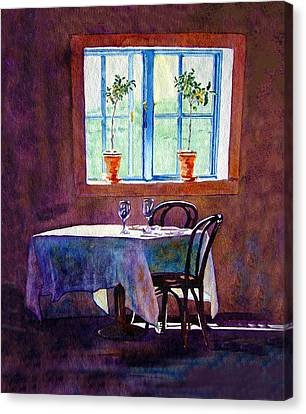 Canvas Print featuring the painting Table For Two by Gail Chandler