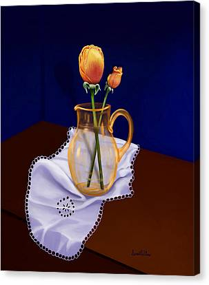 Canvas Print featuring the painting Table Roses by Sena Wilson
