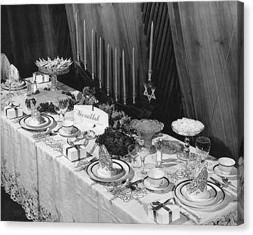 Table Set For Hanukkah Canvas Print by Underwood Archives