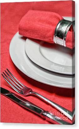 Table Setting In Red Canvas Print