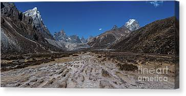 Tabuche And Awi Peak With The Trail To Pheriche Down The Middle Canvas Print by Mike Reid