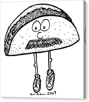 Taco Mustache Canvas Print by Karl Addison
