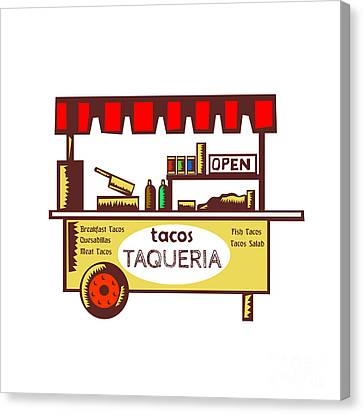 Taco Stand Taqueria Stand Woodcut Canvas Print