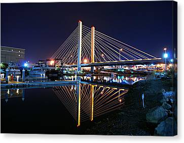 Tacoma Hwy 509 Bridge Up In Lights 2 Canvas Print by Rob Green