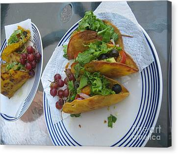 Canvas Print featuring the photograph Tacos Almost Mirrored by Marie Neder