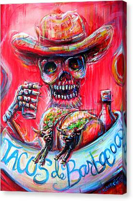 Canvas Print featuring the painting Tacos De Barbacoa by Heather Calderon