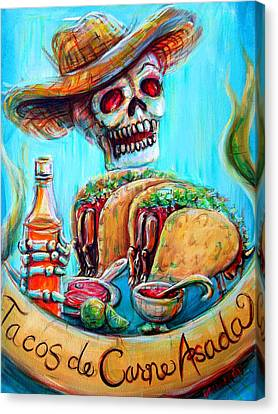 Canvas Print featuring the painting Tacos De Carne Asada by Heather Calderon