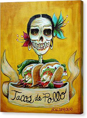 Skull Canvas Print - Tacos De Pollo by Heather Calderon