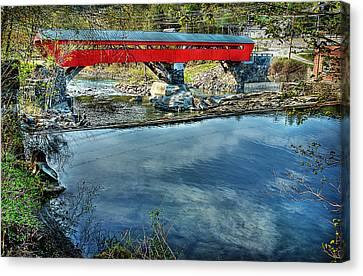 Taftsville Bridge From Upstream Canvas Print
