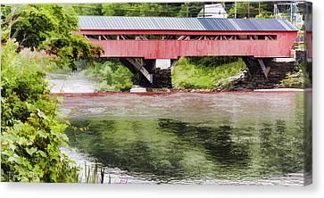 Taftsville Covered Bridge Watercolor Canvas Print