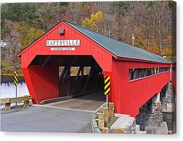 Taftsville Vermont Red Covered Bridge Autumn Waterfall Canvas Print
