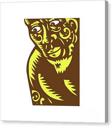 Tagaloa Peeking Woodcut Canvas Print by Aloysius Patrimonio
