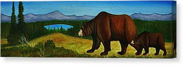 Taggart Lake Bears Canvas Print by Lucy Deane