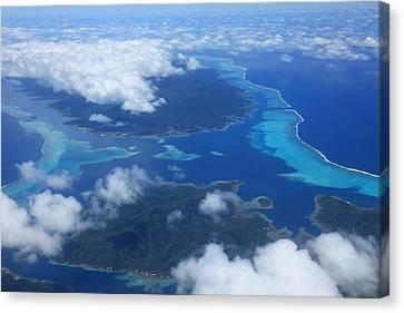 Tahiti Reefs From The Air Canvas Print by Owen Ashurst