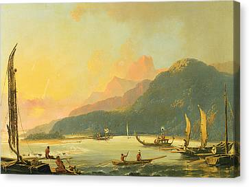 Tahitian War Galleys In Matavai Bay - Tahiti Canvas Print