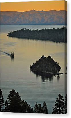 Tahoe Queen Steaming Into Emerald Bay Canvas Print