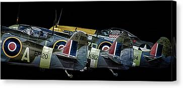 Vintage Aircraft Canvas Print - Tail Fins by Martin Newman