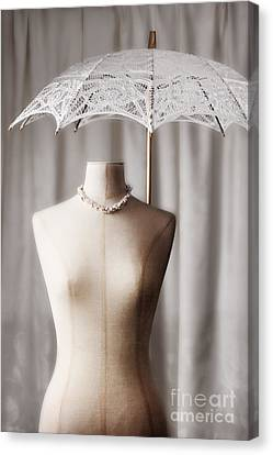 Gold Necklace Canvas Print - Tailors Dummy With Parasol by Amanda Elwell