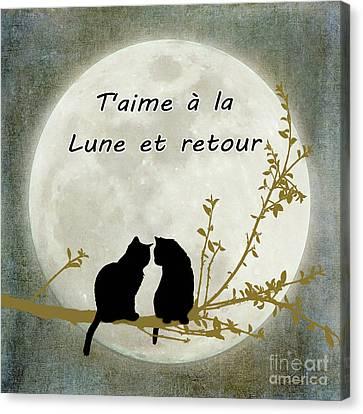 Canvas Print featuring the digital art T'aime A La Lune Et Retour by Linda Lees